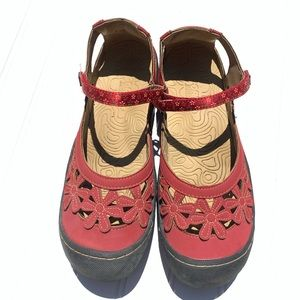Jsport by Jambu Peony Mary Janes Shoes Red 9.5